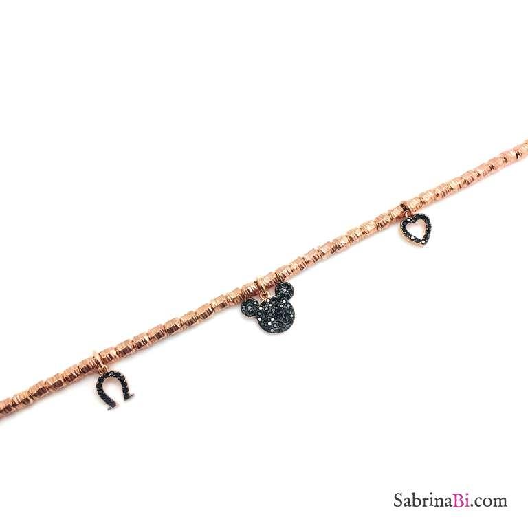 Bracciale rondelle argento 925 oro rosa Topolino
