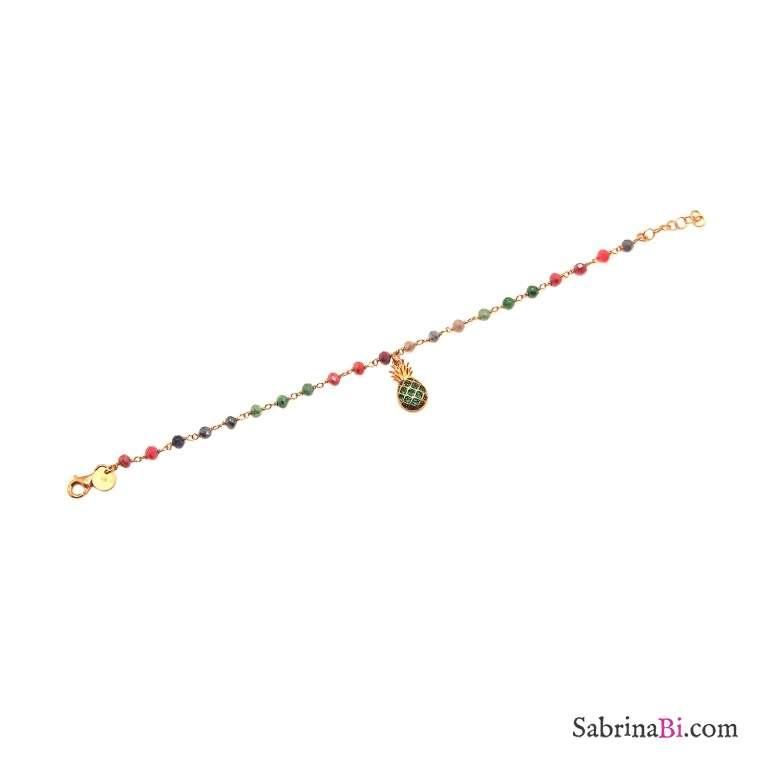 Bracciale rosario argento 925 oro rosa cristalli multicolor Ananas