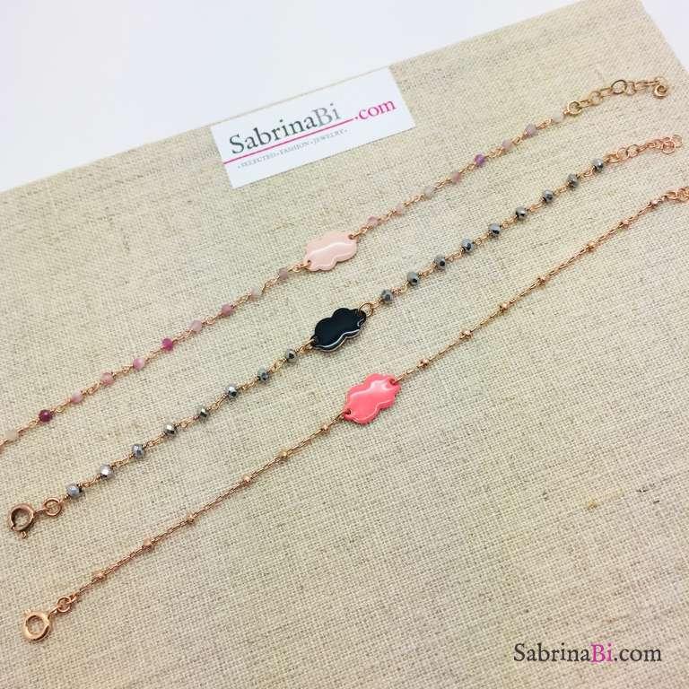 Bracciale rosario argento 925 oro rosa Ematite grigia e nuvola nera