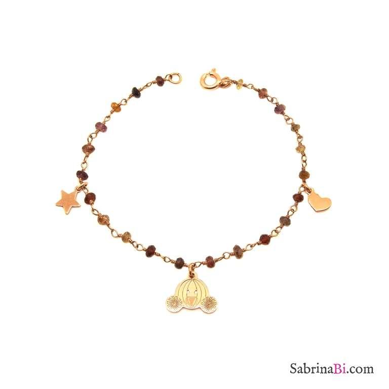 Bracciale rosario argento 925 oro rosa Granato e charms