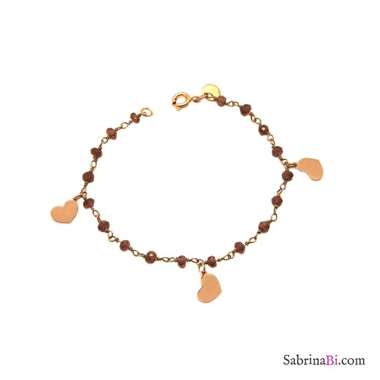 Rose gold sterling silver Garnet rosary chain and hearts bracelet