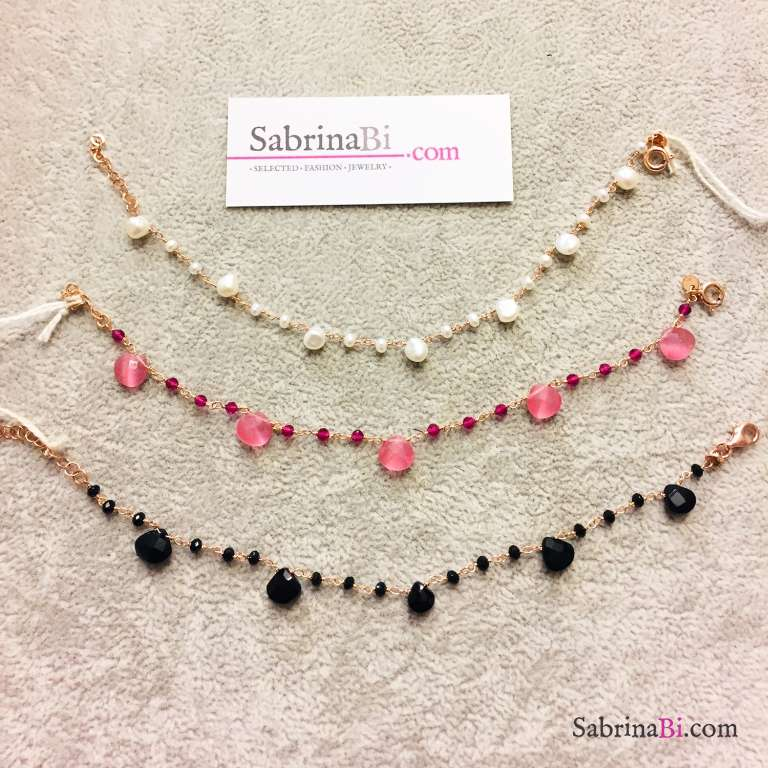 Bracciale rosario argento 925 oro rosa Granato e Pietra di luna rosa goccia