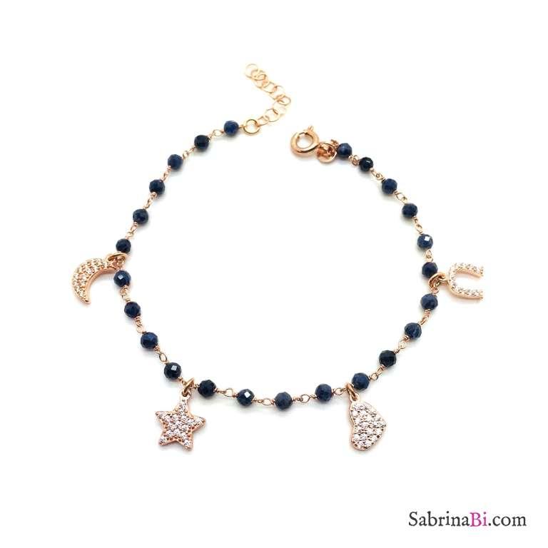 Bracciale rosario argento 925 oro rosa Lapislazzuli e charms Zirconi