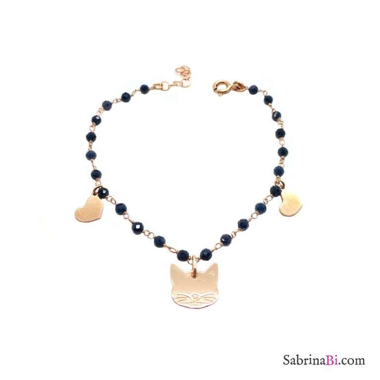 Bracciale rosario argento 925 oro rosa Lapislazzuli e gatto