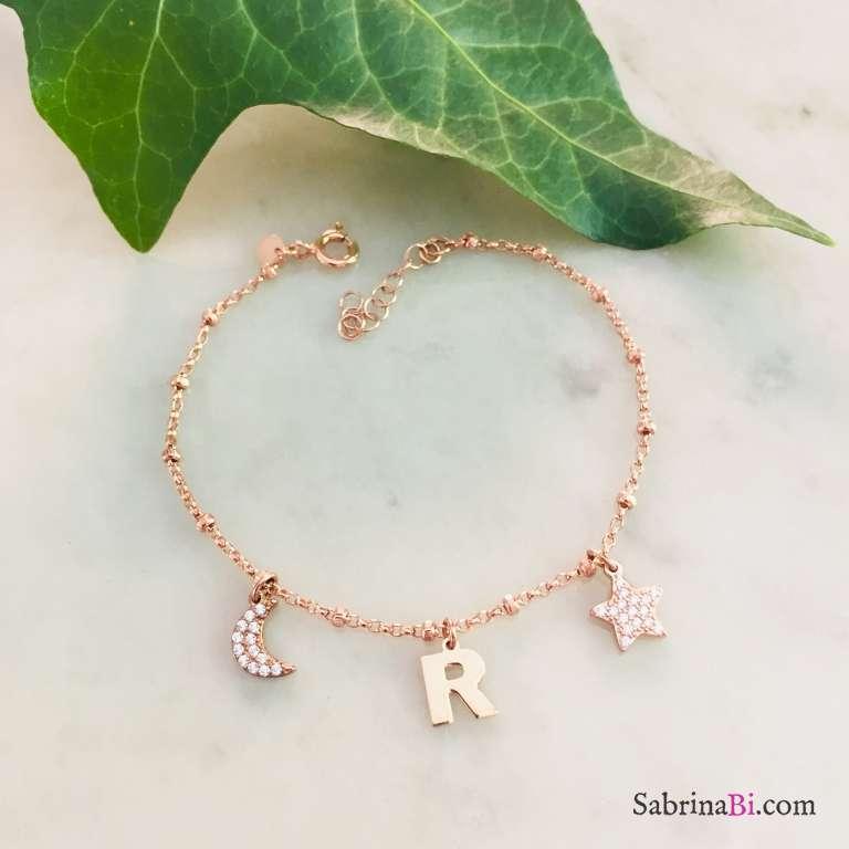 Bracciale rosario argento 925 oro rosa lettera e charms Zirconi