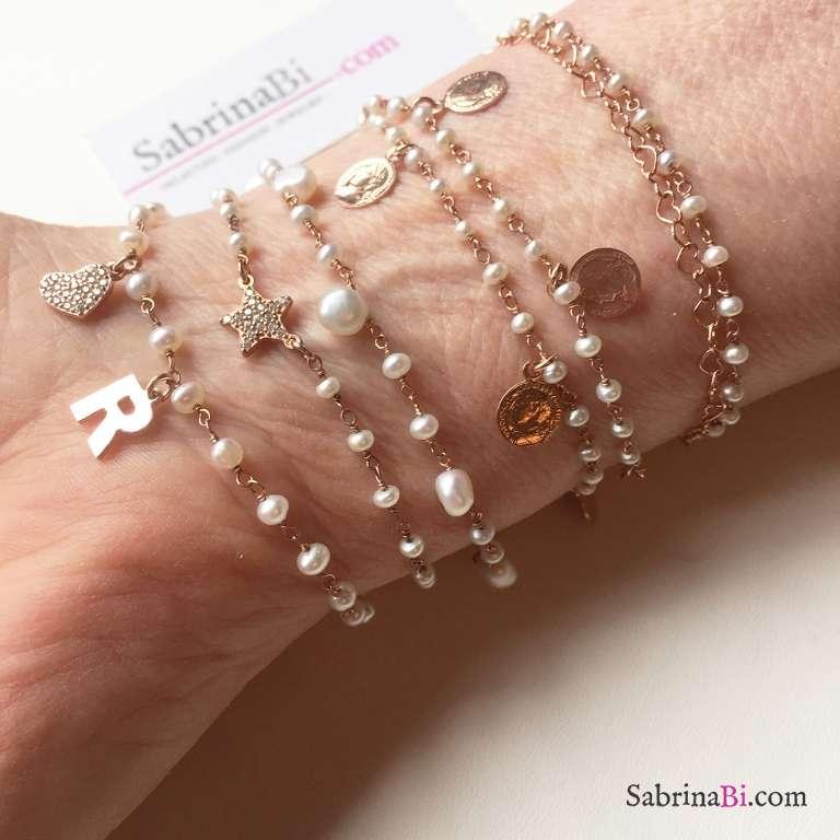 Bracciale rosario argento 925 oro rosa Perle goccia