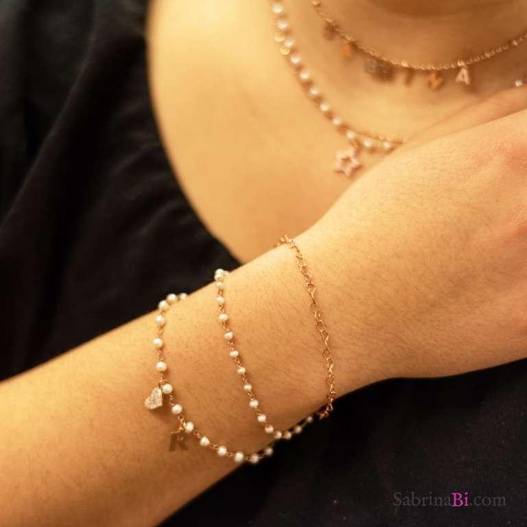 Bracciale rosario argento 925 oro rosa Perle Lettera e cuore Zirconi