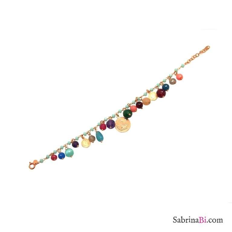 Bracciale rosario argento 925 oro rosa pietre azzurre Moneta