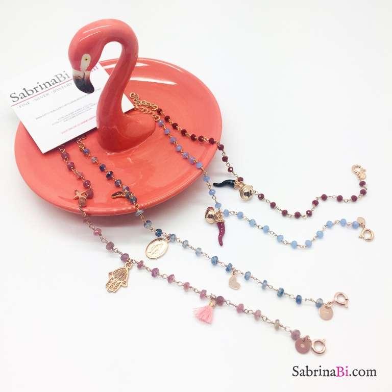 Bracciale rosario argento 925 oro rosa pietre dure blu Madonnina Miracolosa