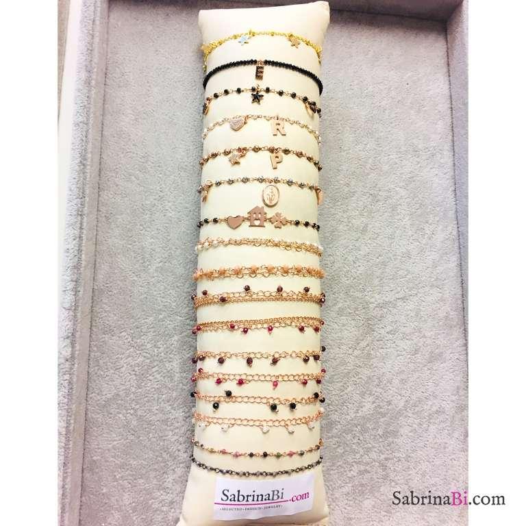 Bracciale rosario argento 925 oro rosa Pirite Lettera e stella Zirconi