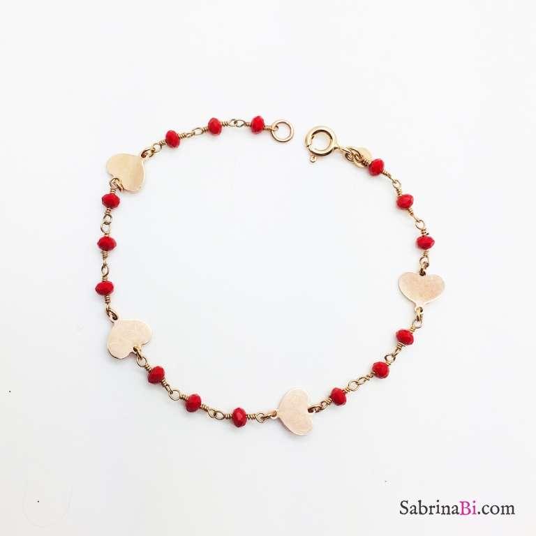 Bracciale rosario rosso argento 925 oro rosa e cuori