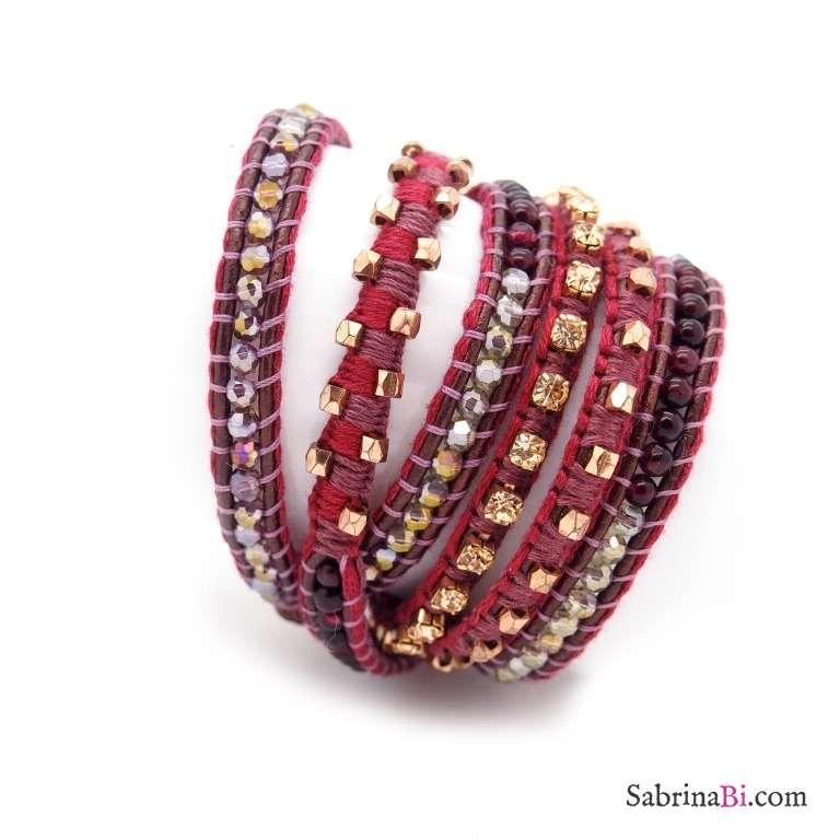 Bracciale unisex multigiro wrap pelle bordeaux e cristalli e pietre oro rosa