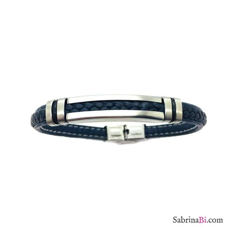Fake blue leather and plate man bracelet