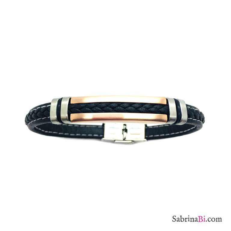 Fake black leather and rose gold plate man bracelet