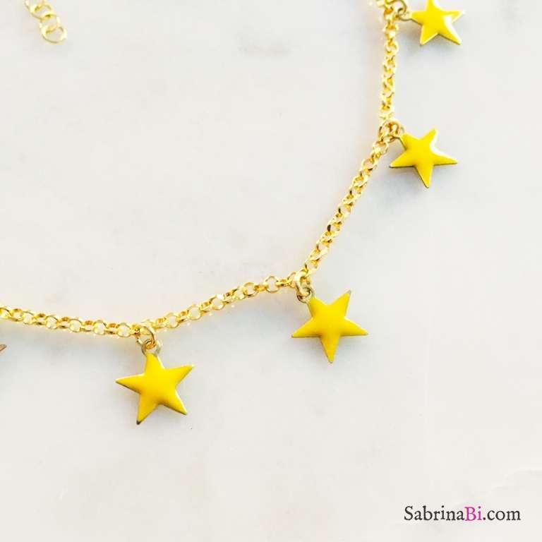 Cavigliera argento 925 oro giallo stelle gialle