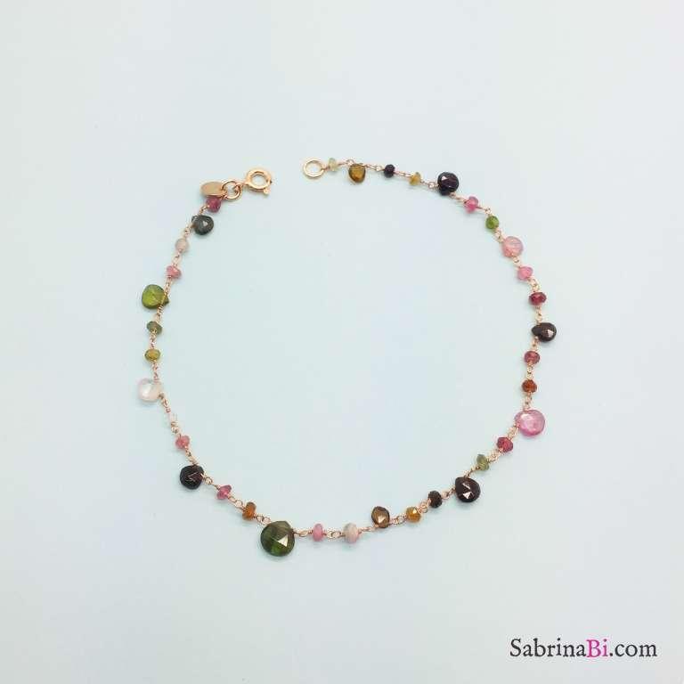 Cavigliera argento 925 oro rosa rosario Tormaline multicolor