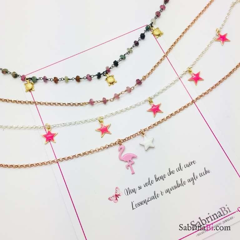 Cavigliera argento 925 stelle rosa