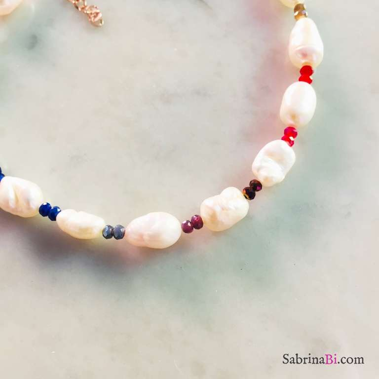 Cavigliera perle barocche Rainbow
