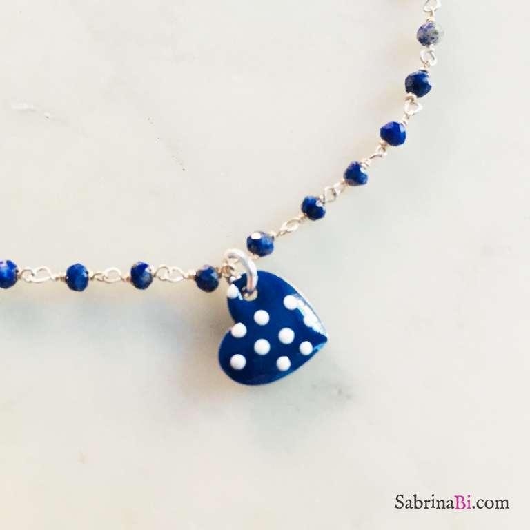 Cavigliera rosario argento 925 Lapislazzuli Cuore