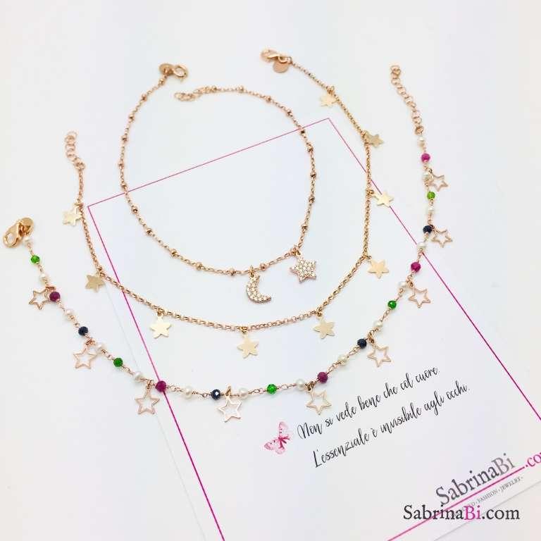 Cavigliera rosario argento 925 oro rosa Luna e Stella Zirconi