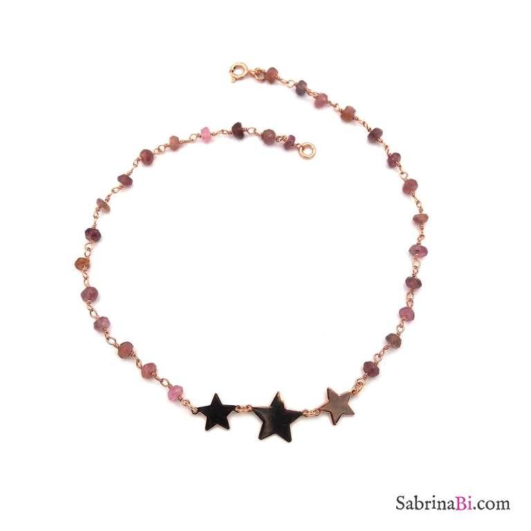 Cavigliera rosario argento 925 oro rosa pietre dure rosa e 3 stelle