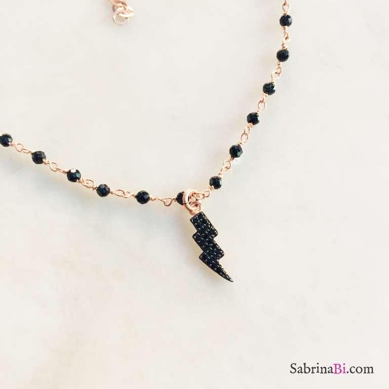 Cavigliera rosario argento 925 oro rosa Spinelli neri Lampo Zirconi neri