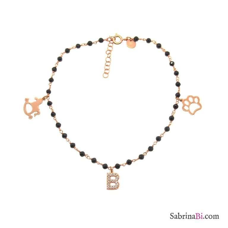 Cavigliera rosario argento 925 oro rosa Spinelli neri Lettera Zirconi + charms