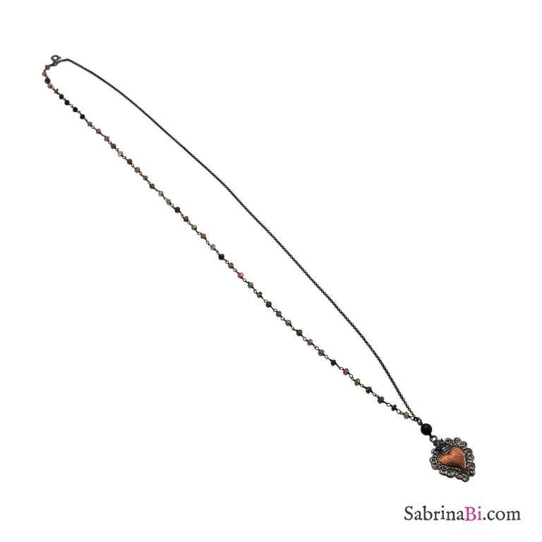 Collana 2 usi rosario argento 925 rodiato nero pietre multicolor e cuore votivo