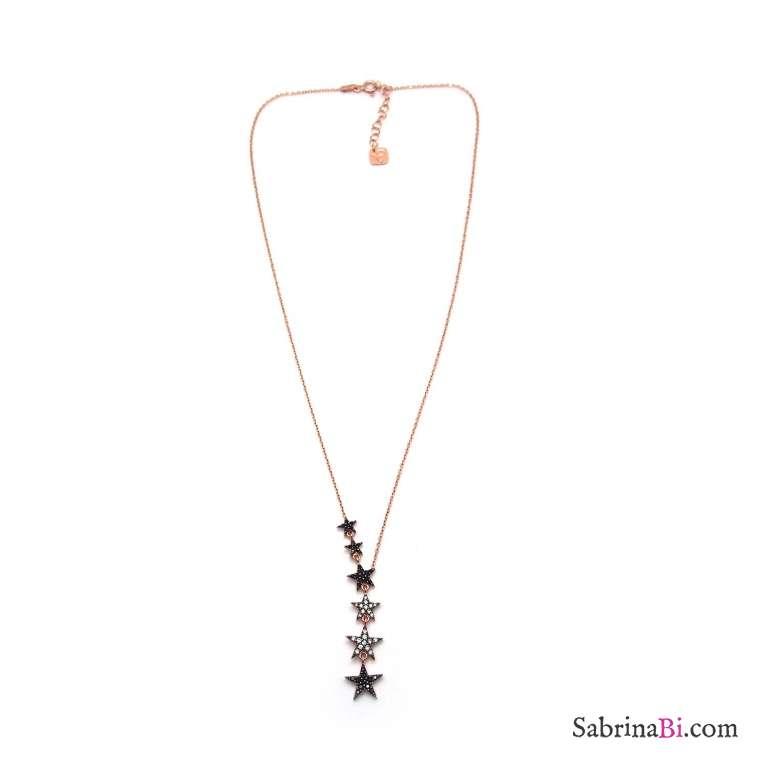 Collana a Y argento 925 oro rosa stelle Zirconi bianchi e neri pendenti