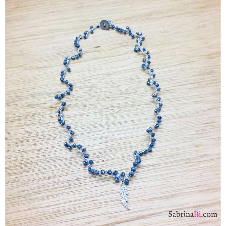 Collana all'uncinetto con Ematite blu e fulmine Zirconi
