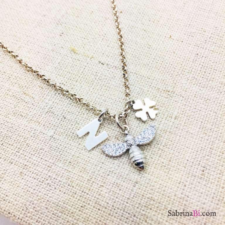 Collana argento 925 Happy Bee e lettera iniziale nome