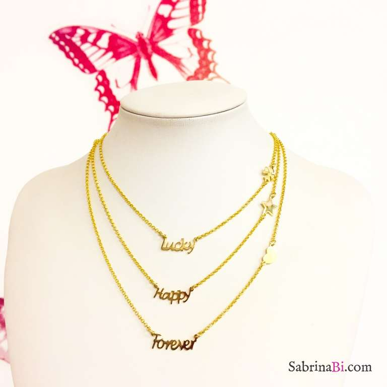 Collana argento 925 oro giallo Forever e cuore