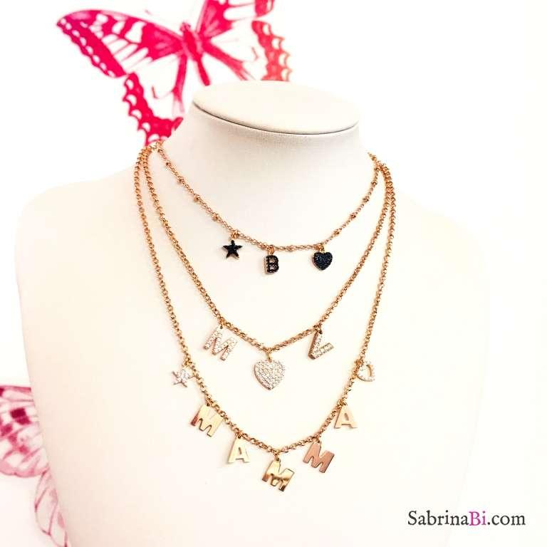 Collana argento 925 oro rosa 2 lettere Zirconi personalizzate iniziali nome e cuore Zirconi