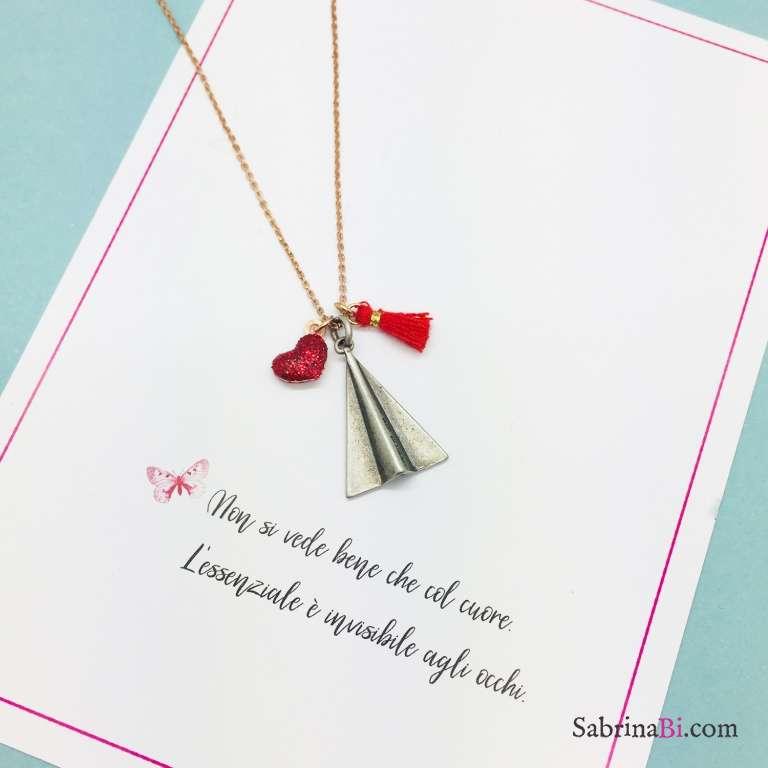 Collana argento 925 oro rosa Aereo e cuore glitter