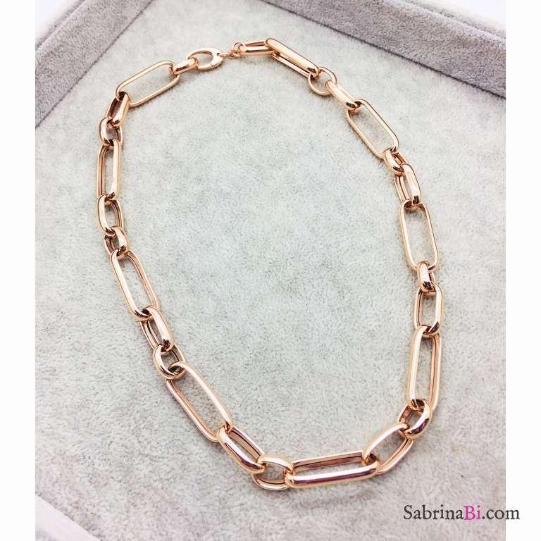 Collana argento 925 oro rosa Aida