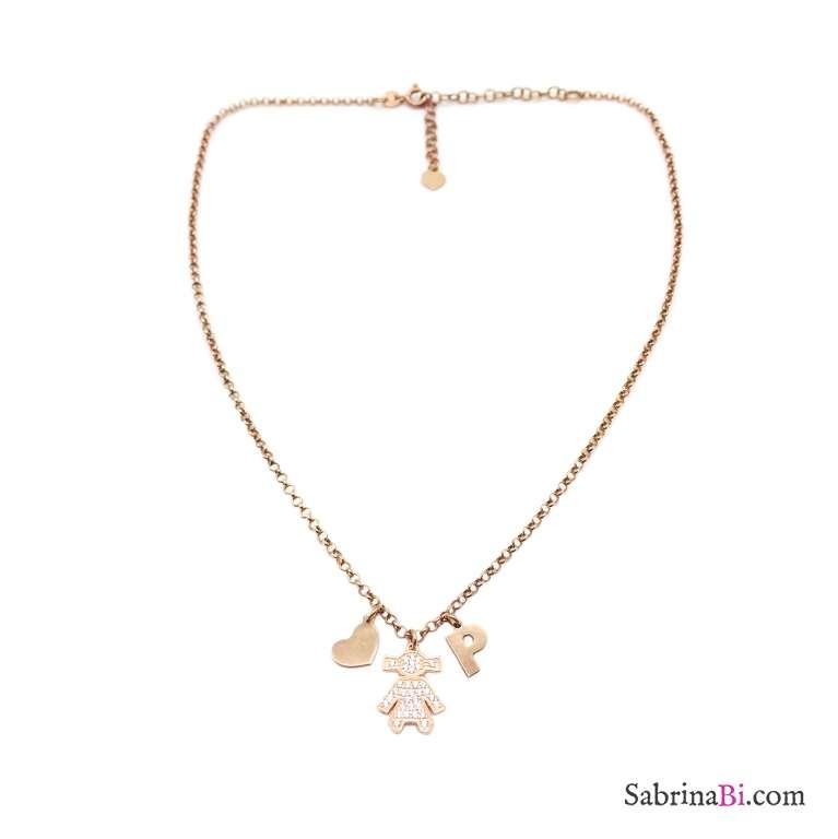 Collana argento 925 oro rosa Bambina Zirconi, cuore e lettera iniziale nome