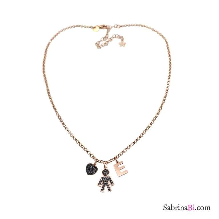 Collana argento 925 oro rosa Bambino Zirconi neri, cuore e lettera iniziale nome