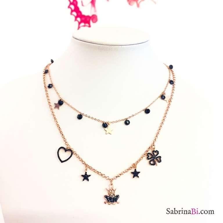 Collana argento 925 oro rosa cascata Zirconi neri e stelline