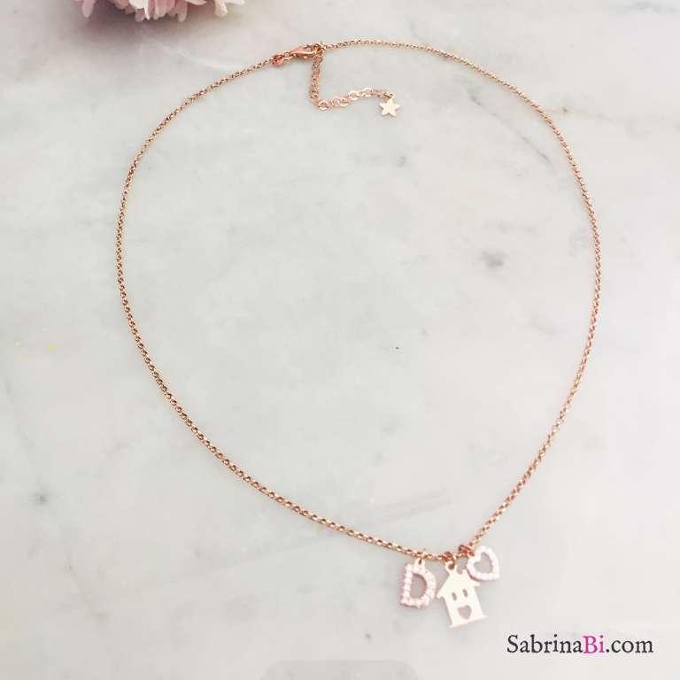 Collana argento 925 oro rosa Casetta, cuore e lettera iniziale nome Zirconi