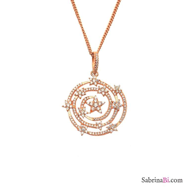 Stars constellation rose gold sterling silver necklace