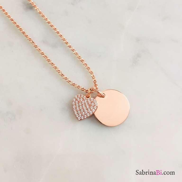 Collana argento 925 oro rosa disco incidibile e cuore Zirconi