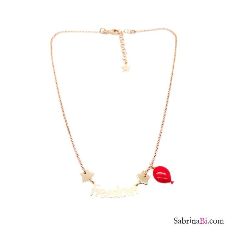 Collana argento 925 oro rosa Freedom e palloncino rosso