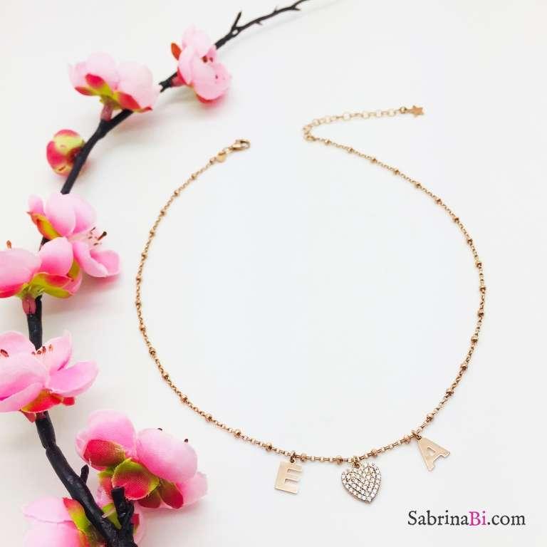 Collana argento 925 oro rosa I love you