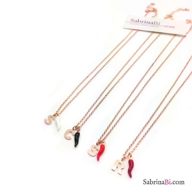 Collana argento 925 oro rosa lettera iniziale nome e cornetto nero