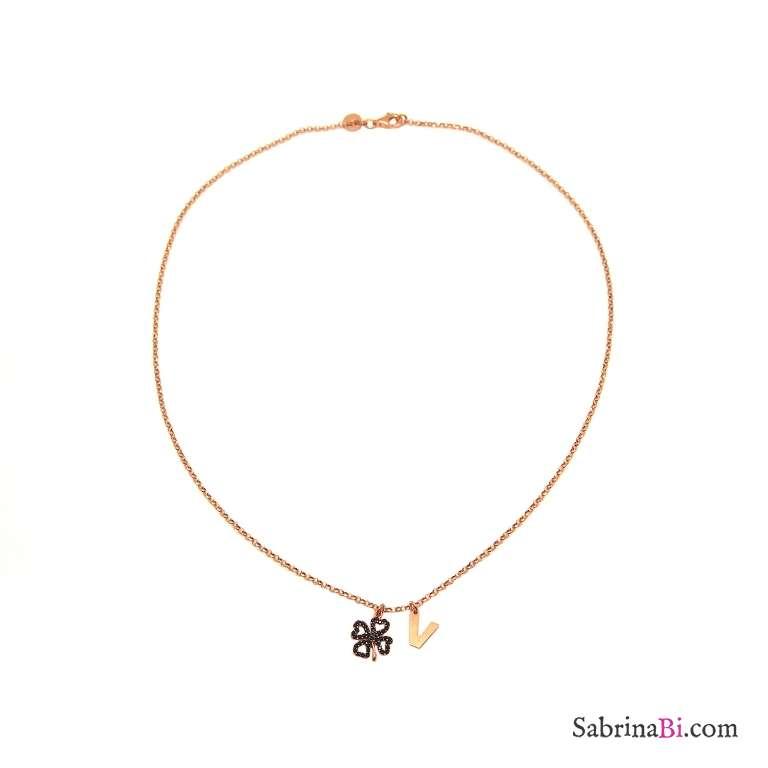 Collana argento 925 oro rosa lettera iniziale nome e quadrifoglio Zirconi neri