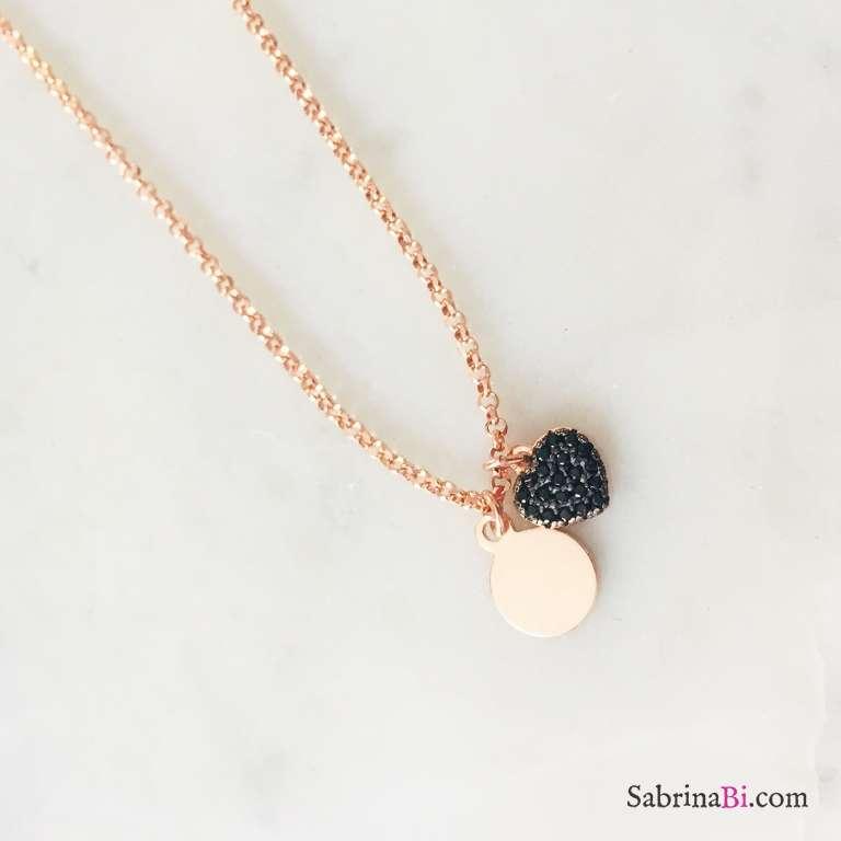 Collana argento 925 oro rosa micro disco incidibile e cuore Zirconi neri