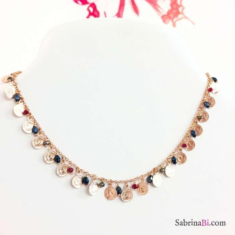 Collana argento 925 oro rosa Monete e Zirconi