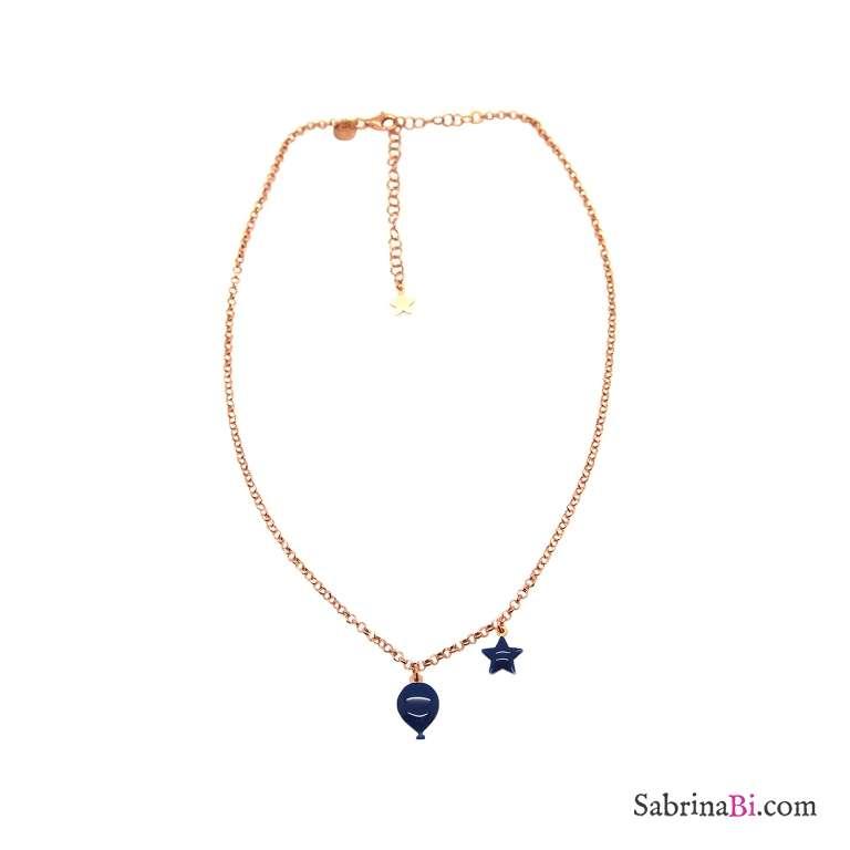 Collana argento 925 oro rosa palloncino e stella smalto blu