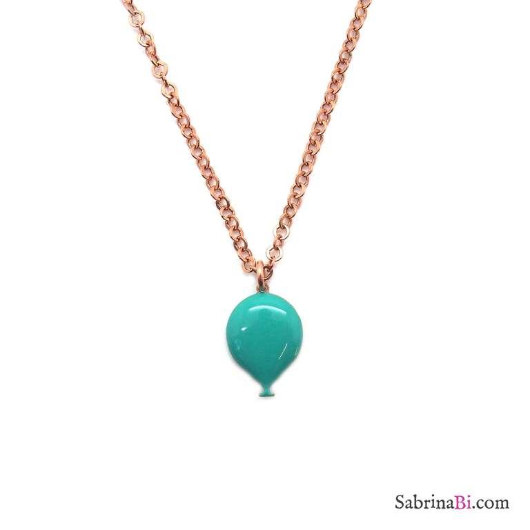 Collana argento 925 oro rosa palloncino smalto verde Tiffany