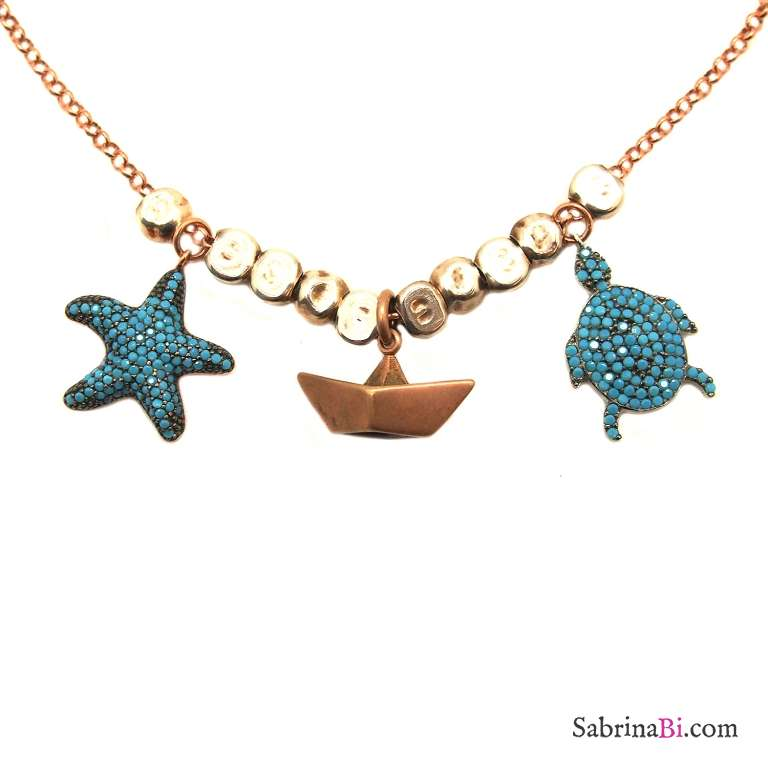 Rose gold sterling silver nuggets necklace w/t Boat, Starfish and Turtle